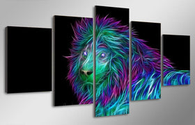 TEEPEAT Canvas Medium / Unframed Abstract Lion Painting - 5 Piece Canvas