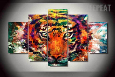 TEEPEAT Canvas Abstract Tiger Painting - 5 Piece Canvas