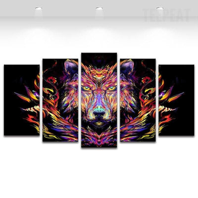TEEPEAT Canvas Abstract Wolf Painting - 5 Piece Canvas