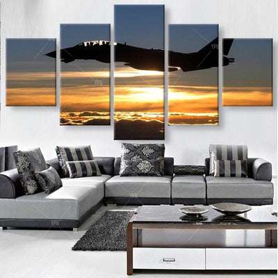 TEEPEAT Canvas Aircraft in Sunset Painting - 5 Piece Canvas