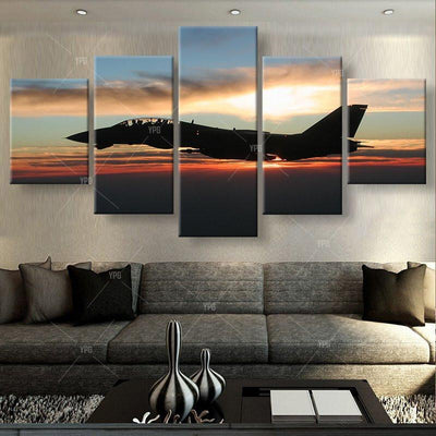 TEEPEAT Canvas Aircraft in Twilight Painting - 5 Piece Canvas