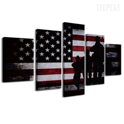 TEEPEAT Canvas American Flag and Soldiers Painting - 5 Piece Canvas