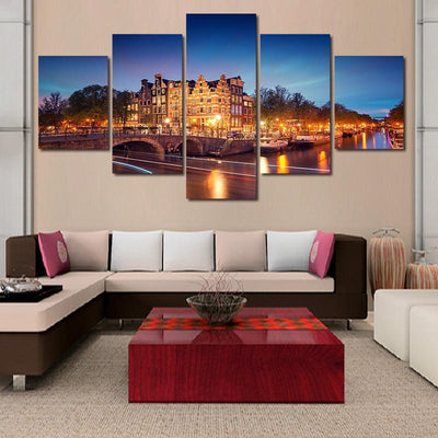 TEEPEAT Canvas Amsterdam Building Landscape View - 5 Piece View