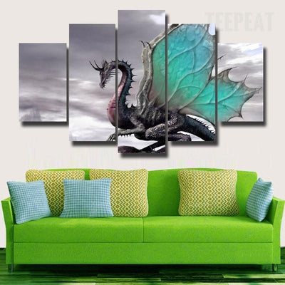 TEEPEAT Canvas Ancient Butterfly Dragon With Colorful Wings - 5 Piece Canvas