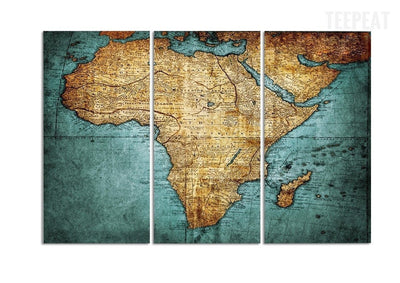 TEEPEAT Canvas Ancient World Map - 3 Piece Canvas