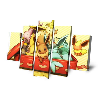 TEEPEAT Canvas Animated Pocket Monsters Inside The Box - 5 Piece Canvas