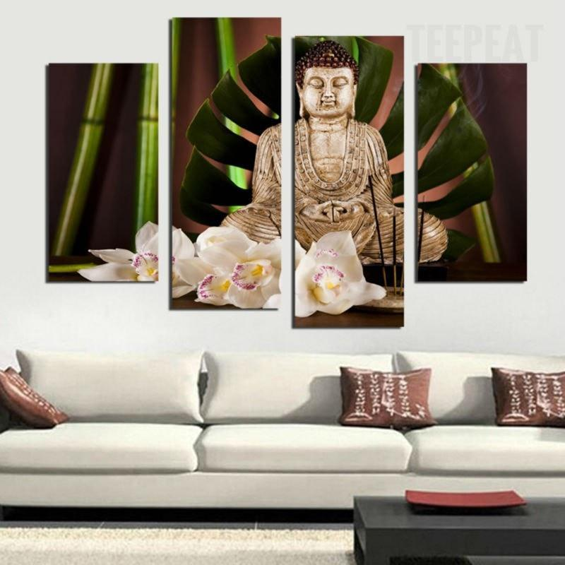 Antique Buddha Painting - 4 Piece Canvas