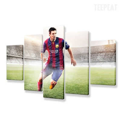 TEEPEAT Canvas Argentina Footballers Lionel Messi - 5 Piece Canvas
