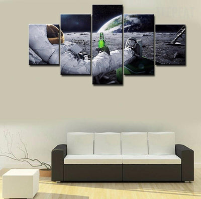 TEEPEAT Canvas Astronaut On The Moon - 5 Piece Canvas Painting