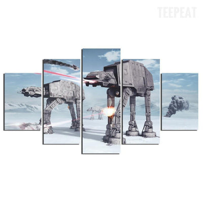 TEEPEAT Canvas AT-AT Invasion - 5 Piece Canvas Painting