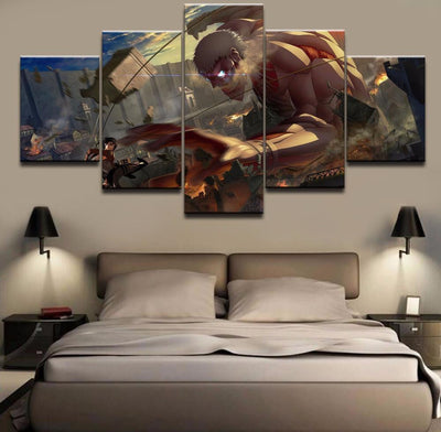 TEEPEAT Canvas Attack on Titan : Mikasa vs. Titan - 5 piece canvas