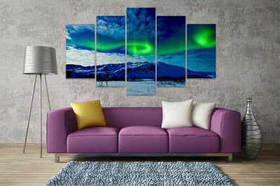 TEEPEAT Canvas Aurora Borealis in the Cloudy Sky - 5 Piece Canvas Painting