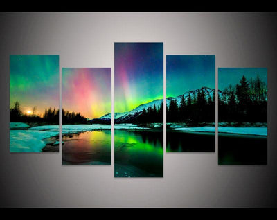 TEEPEAT Canvas Aurora Borealis Over The Mountain -  5 Piece Canvas Painting
