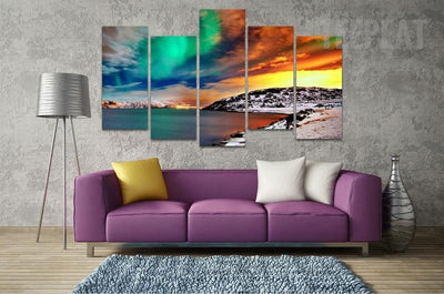 TEEPEAT Canvas Aurora Borealis Painting - 5 Piece Canvas