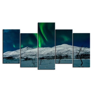 TEEPEAT Canvas Aurora Borealis Scenery - 5 Piece Painting