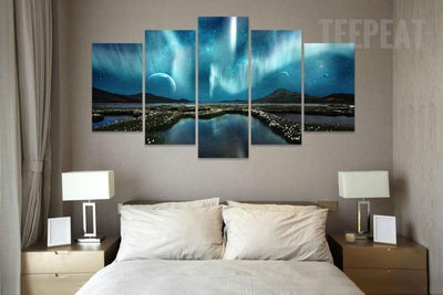 "TEEPEAT Canvas ""Aurora Borealis & Space"" - 5 Piece Canvas Painting"