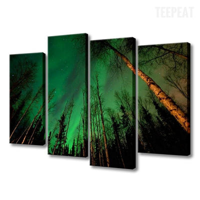 TEEPEAT Canvas Aurora Borealis Within the Forest - 4 Piece Canvas Painting