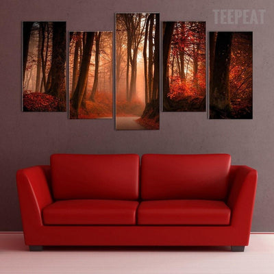 TEEPEAT Canvas Autumn Forest Road - 5 piece canvas