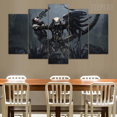 TEEPEAT Canvas AVP - Predator Reigns  - 5 Piece Canvas Painting