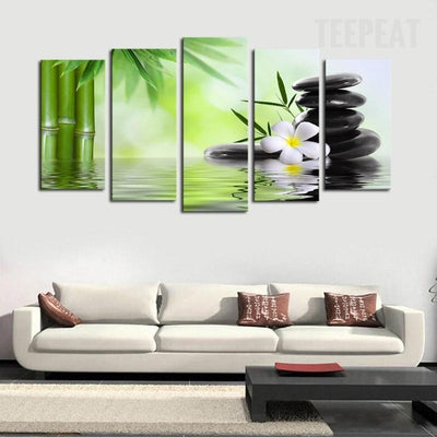 TEEPEAT Canvas Bamboo And Stones Scenery - 5 Piece Canvas Painting