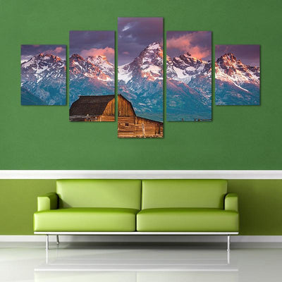 TEEPEAT Canvas Bamboo House Before The Snow Mountain - 5 Piece Canvas