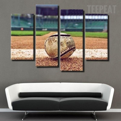 TEEPEAT Canvas Baseball Painting - 4 Piece Canvas