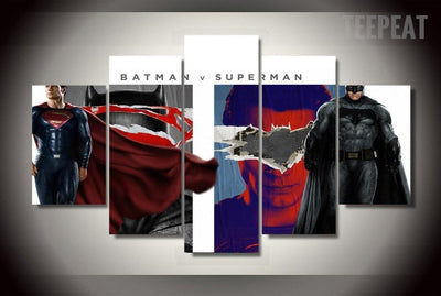 TEEPEAT Canvas Batman vs Superman: Dawn of Justice Painting - 5 Piece Canvas