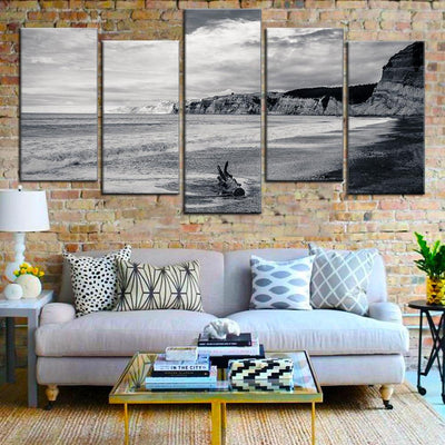 TEEPEAT Canvas Beach Black and White - 5 piece canvas
