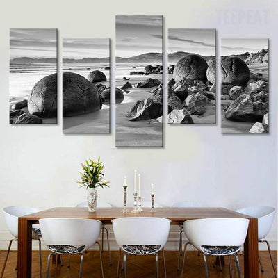 TEEPEAT Canvas Beach Boulders Black and White - 5 piece canvas