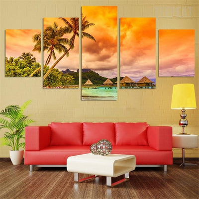 TEEPEAT Canvas Beach Coconut Tree - 5 Piece Canvas Painting