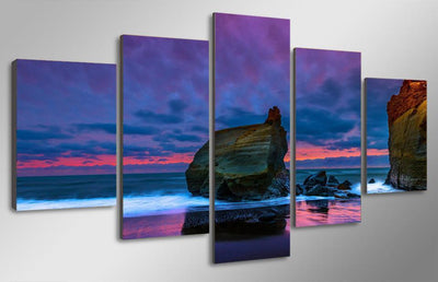 TEEPEAT Canvas Beach Seascape Painting - 5 Piece Canvas