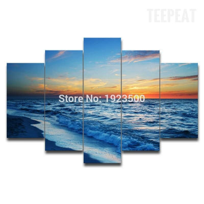 TEEPEAT Canvas Beach Sunset V2 Painting - 5 Piece Canvas