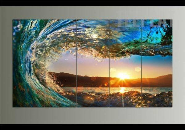 Beach Sunset With The Ocean Wave - 5 Piece Canvas Painting