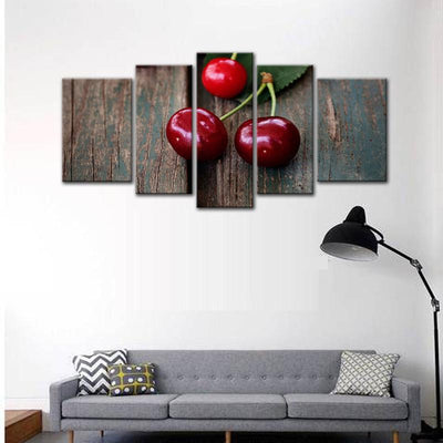 TEEPEAT Canvas Beautiful Cherries On Board Landscape View - 5 Piece Canvas