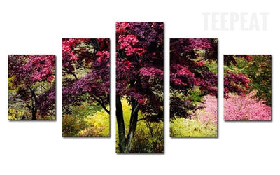 TEEPEAT Canvas Beautiful Colorful Tree - 5 Piece Canvas