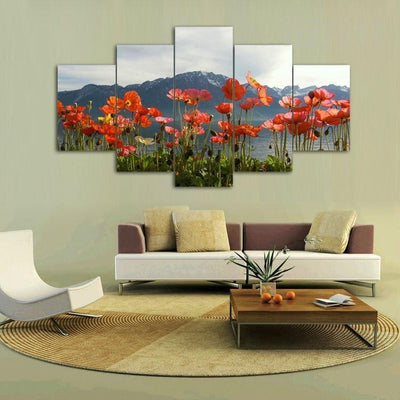 TEEPEAT Canvas Beautiful Flowers In The Wild - 5 Piece Canvas Painting