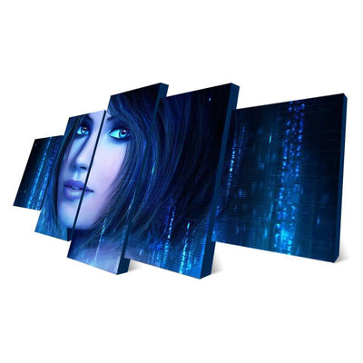 TEEPEAT Canvas Beautiful Girl Face With Short Hair - 5 Piece Canvas