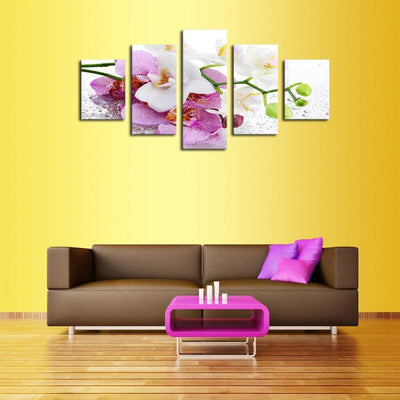 TEEPEAT Canvas Beautiful Orchid Flowers - 5 Piece Canvas Painting