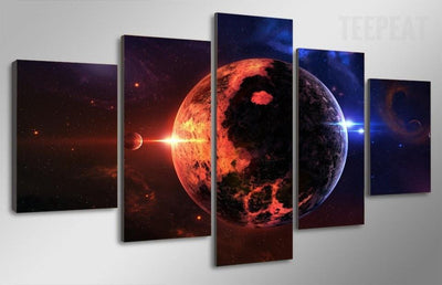 TEEPEAT Canvas Beautiful Planet Earth On The Milky Way Galaxy - 5 Piece Canvas