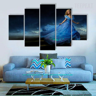 TEEPEAT Canvas Beautiful Princess In Blue Dress - 5 Piece Canvas