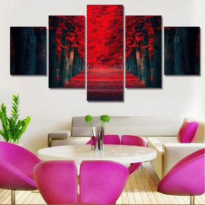 TEEPEAT Canvas Beautiful Red Woods - 5 Piece Canvas Painting