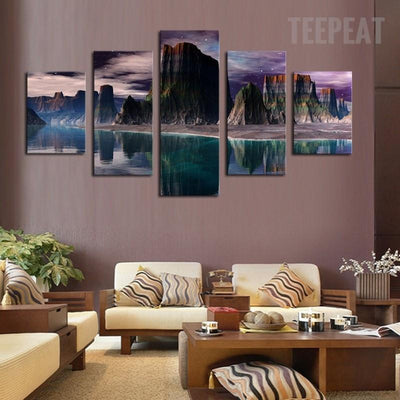 TEEPEAT Canvas Beautiful Rocky Mountains and Stunning Green Lakes- 5 Piece Canvas