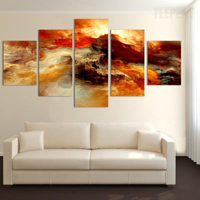 TEEPEAT Canvas Beautiful Sea Sunset - 5 Piece Canvas Painting