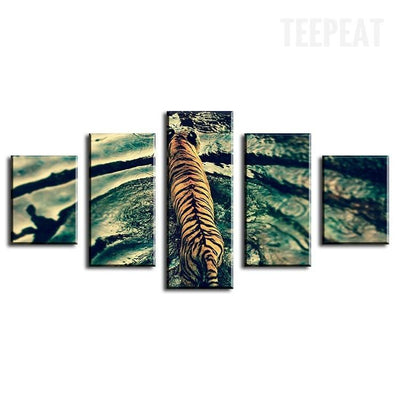 TEEPEAT Canvas Beautiful Tiger On The Water - 5 Piece Canvas Painting