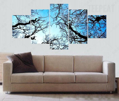 TEEPEAT Canvas Beautiful Tree Branches Before The Blue Clouds - 5 Piece Canvas