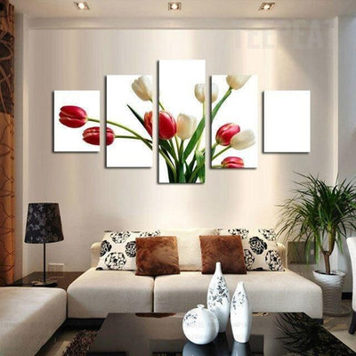 TEEPEAT Canvas Beautiful Tulips Flower - 5 Piece Canvas Painting