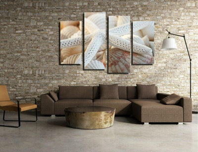 TEEPEAT Canvas Beautiful White Starfish - 4 Piece Canvas Painting