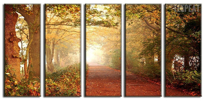 TEEPEAT Canvas Beautiful Woods On Green Forest - 5 Piece Canvas Painting