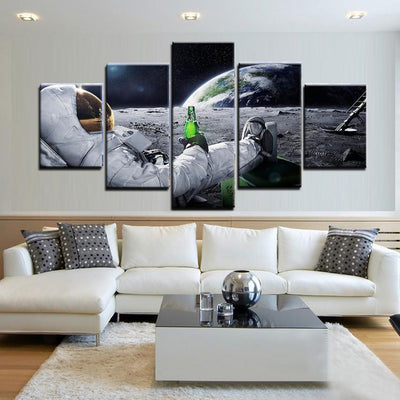 TEEPEAT Canvas Beer on the Moon - 5 Piece Canvas Painting