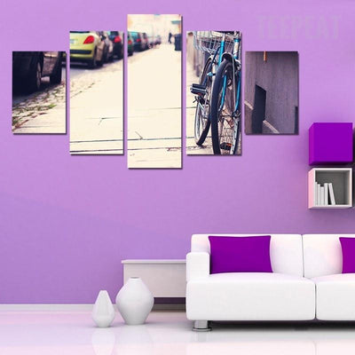 TEEPEAT Canvas Bicycle on a Sidewalk - 5 piece canvas